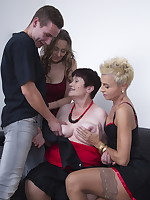 Three horny housewives share one lucky dude